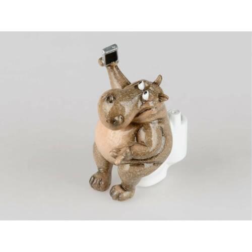 Dekofigur Nilpferd Hugo auf Toilette H 16cm natur braun Formano