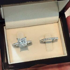 2-50-Ct-Princess-D-VS-Enhance-14K-White-Gold-Diamond-Engagement-Wedding-Ring-Set