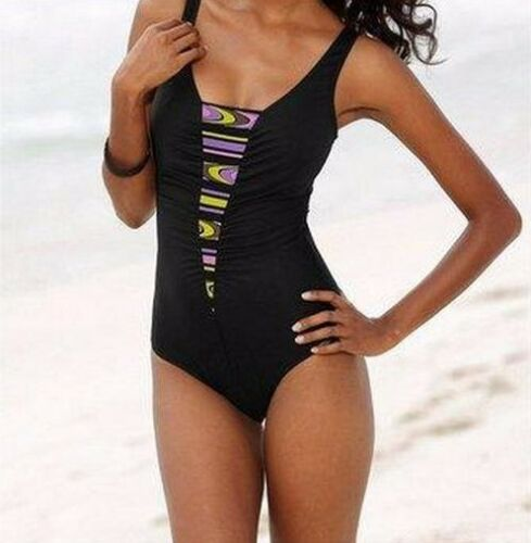 Swimming Costume Sunflair Black Colorful Insert Size 38 E New