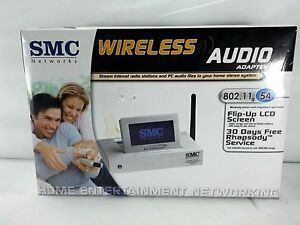 SMC-WIRELESS-AUDIO-ADAPTER-802-11G-54-MBPS-NETWORKING-HOME-ENTERNAINMENT-LCD
