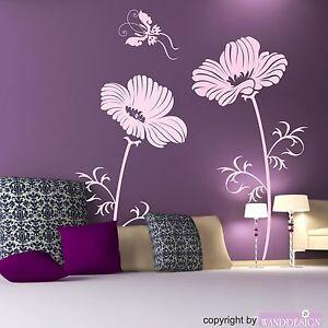 Wandtattoo Blumen Und Schmetterling Bluten Wandaufkleber Wandsticker Ebay
