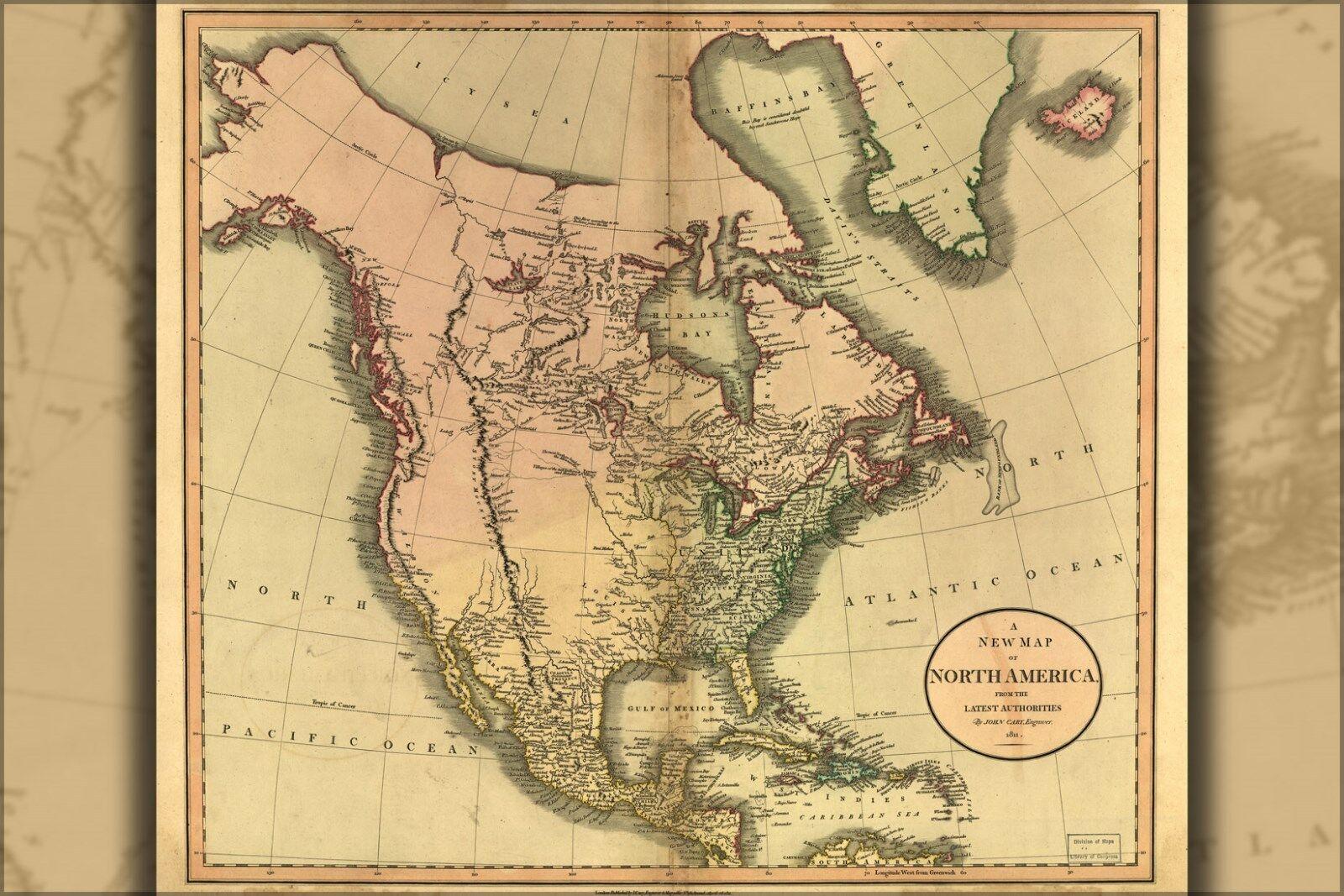 Poster, Molte Misure; Misure; Misure; Mappa Del Nord America Pre Stati Uniti 1811 b95bdb