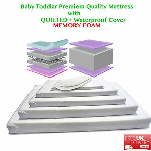 Baby Toddler Cot Bed WATERPROOF and QUILTED MEMORY FOAM