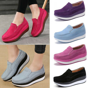 Women-Wedge-Suede-Slip-On-Casual-Loafers-Rocker-Sole-Platform-Shoes-Plus-Size