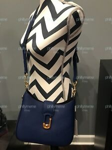 NWT Marc Jacobs Interlock Small Hobo Crossbody Bag Calf Leather BLUE ... 28530d17cf6d6