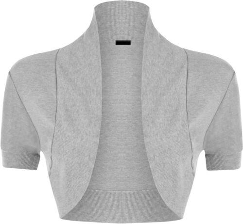 Womens Plain Short Sleeve Cropped Shrug Ladies Open Cardigan Bolero Top 8-14