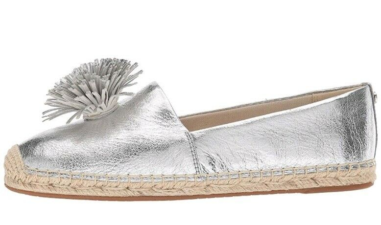 MICHAEL MICHAEL KORS WOMEN'S LOLITA METALLIC LEATHER LEATHER LEATHER ESPADRILLE FLATS SIZE 10 a50a69