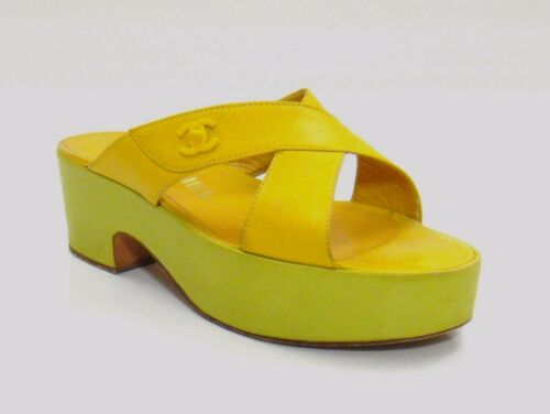Chanel Yellow & Lime Green Leather Platform Sandal