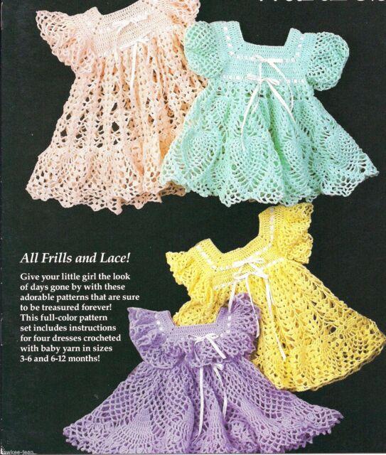 Babyu0027s Heirloom Wardrobe (4) crochet baby girl frilly dress patterns R0202 & Annieu0027s Attic Babyu0027s Heirloom Wardrobe Pattern R0202 - 4 Frilly ...