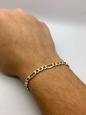 5mm Mens HALLOW  Royal Figaro Link Chain Bracelet Real 10K Yellow Gold #DD86