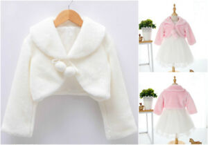 7ac36897cd6 New Princess Wedding Flower Girl Bolero Soft Faux Fur Shrug Jacket ...