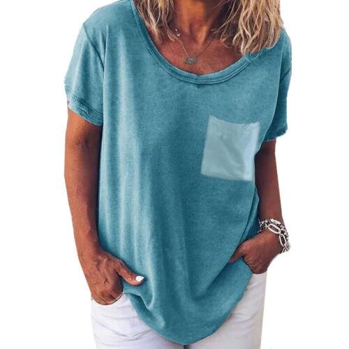 Damen Freizeit Kurzarm Tops Longshirt Longbluse Tunkia Sommer Locker Blusenshirt