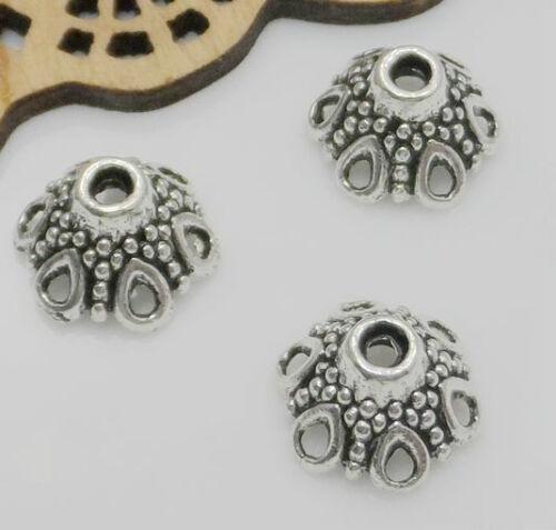 Free Ship 200Pcs Tibetan Silver Beautiful Flower Beads Caps 11x7mm