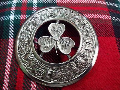 Scottish Kilt Fly Plaid Broche Jaune Pierre finition chrome Thistle pin broches 4