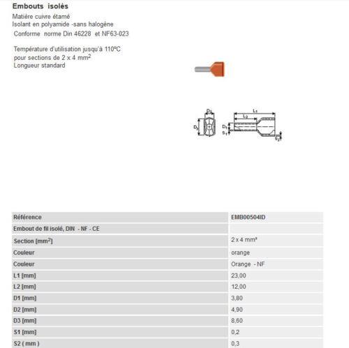 embout  fil souple isolé  0.5 mm²  à  25 mm² simple ou double Embout de cablage