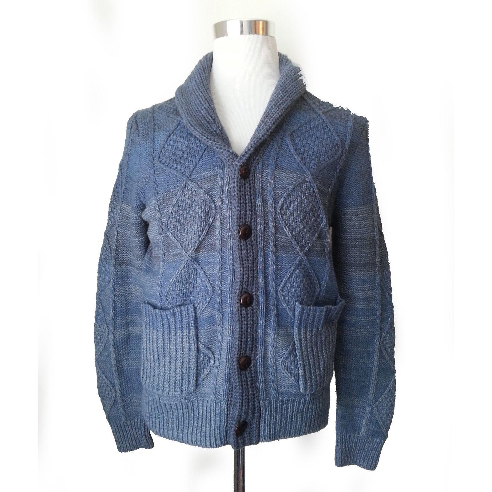 Wallin & Bros Men Size M Cardigan Sweater Shawl Collar bluee Cable Fisherman Wool