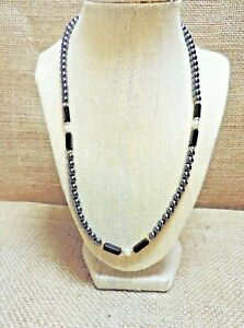 21-034-HEMATITE-amp-GENUINE-PEARL-NECKLACE-W-GOLD-BEAD-ACCENTS