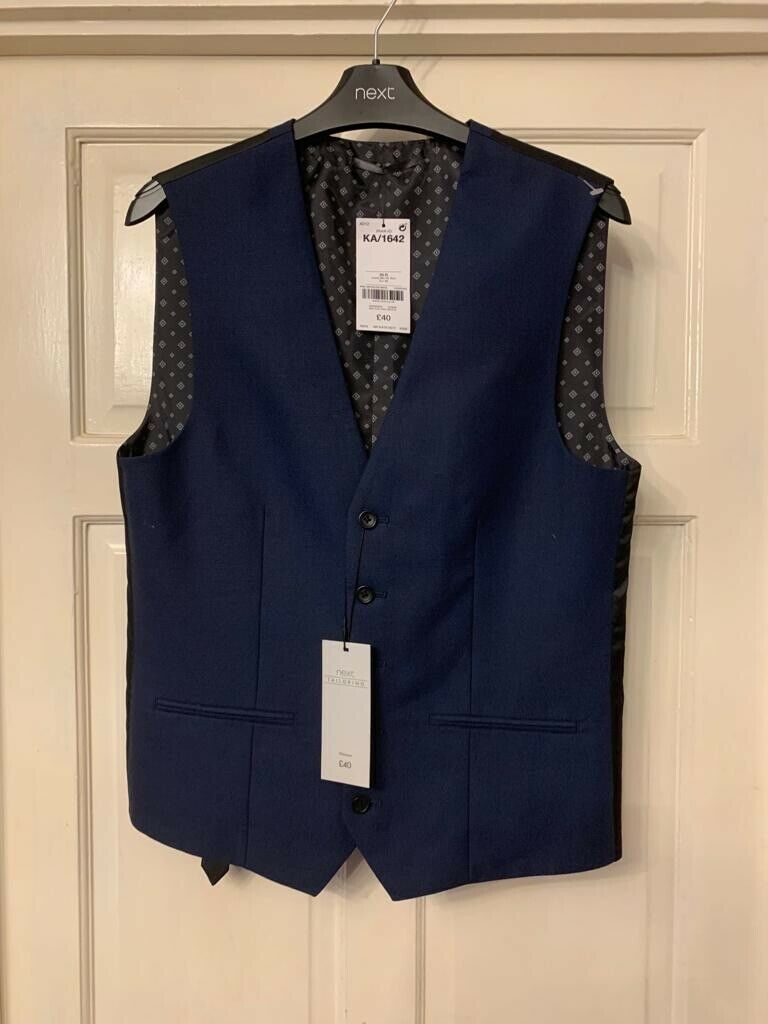 NEXT Mens Blue Tailored Waistcoat - Size 36R - RRP