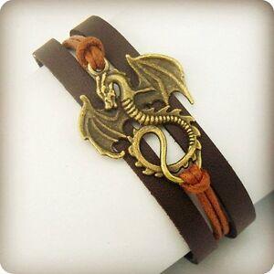Dragon-Daenerys-Targaryen-Game-Of-Thrones-Genuine-Leather-Bracelet-UK-SELLER
