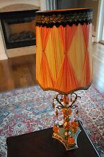 "MID CENTURY MODERN KITSCH ORANGE GLASS GLASS CRYSTAL DROP TABLE LAMP 32"" H BRASS"