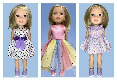14 Inch Doll Clothes Rainbow Tutu Dress /& Shoes Set For Wellie Wishers Doll
