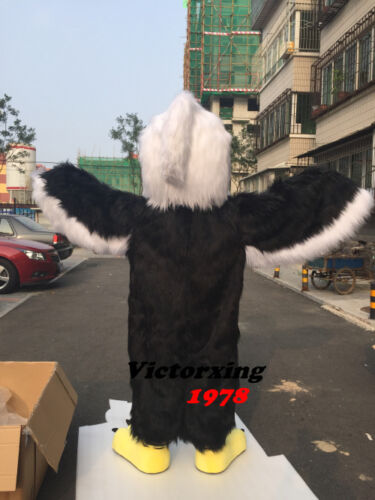 Halloween Long Fur Eagle Mascot Costume Suits Adults Cosplay Party Game Dress