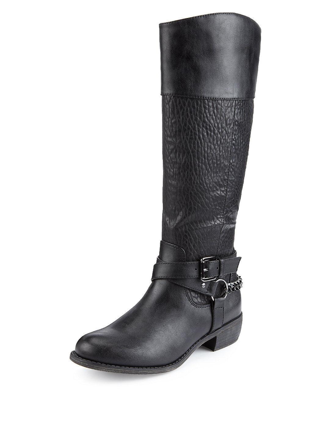M&S Arnés De Cadena Negra Elástico Rodilla Botas Zip Insolia con Insolia Zip Flex ® Talla e73785