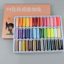 1 Box 39 Pcs Spools Different Colors Polyester Embroidery Sewing Quilting Thread