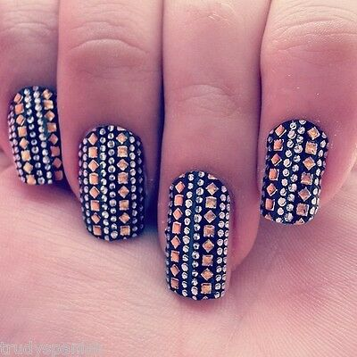 2000 PIECES 3D Nail Art Metallic Studs Silver Gold Round Square Nail Studs