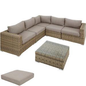Poly Rattan Sofa Couch Hocker Lounge Gartenmöbel Set Sitzgruppe