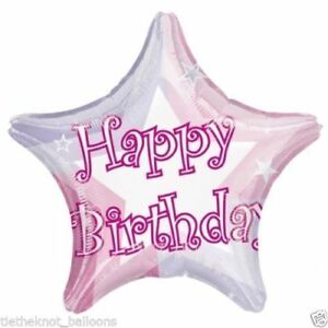 Image Is Loading Happy Birthday Anagram Star Prismatic Foil Helium Pink