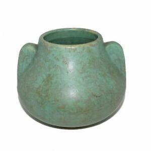 Vintage-Brush-McCoy-Fawn-Vase-Mottled-Turquoise-Green-Ear-Handles-5-1-2-034