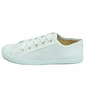 WOMENS-WHITE-TRAINER-FLAT-LACE-UP-PLIMSOLL-PUMPS-CASUAL-CANVAS-DANCE-SHOES-3-9