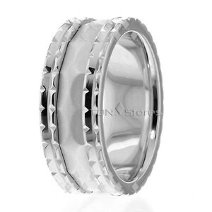 10K Gold 8mm Handmade Wedding Band, Ring Size 4-13 Made USA