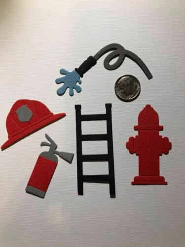 Scrapbook Card Making 10 Pieces Fireman Accessories Premade PAPER Die Cuts