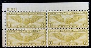 1932-US-Airmail-SC-C17-8c-Winged-Globe-Plate-Block-of-4-MNH-OG-CV-27-5
