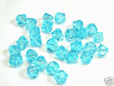 25 x 6mm Glass Bicone Beads BNPG51 Turquoise
