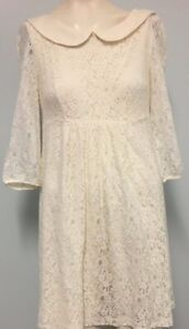 Vintage-Review-cream-lace-dress-size-10-womens-casual-party-cocktail-wedding
