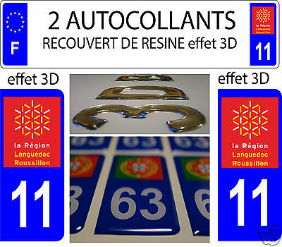 2 STICKERS COVERED RESIN LICENSE PLATE DEPARTMENT 11 AUDE