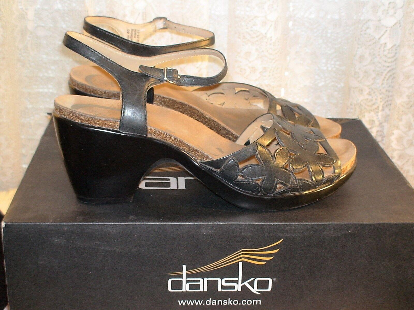 DANSKO COQUETTE FULL GRAIN BLACK SANDALS SZ 40 NIB