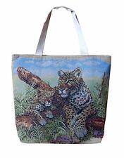 Gewebte Stoff Tasche Handtasche Leopard mit baby Leo Tiger Leoparden Look 11205