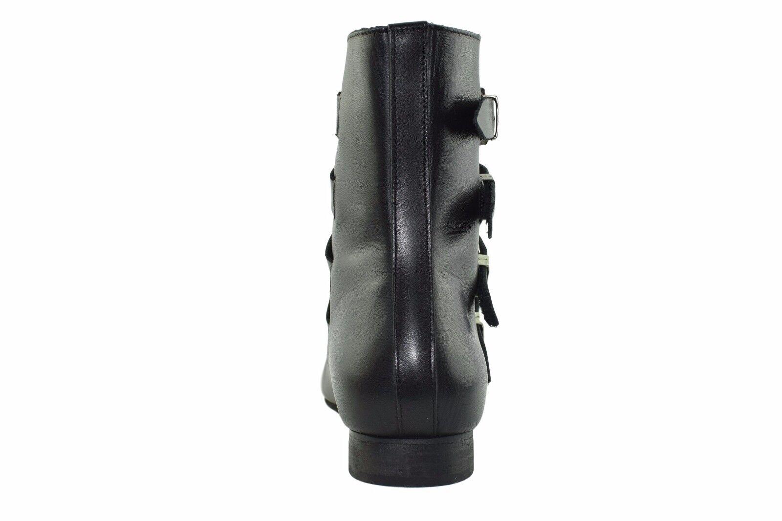 Steel Ground Black Leather Western Winklepicker Rock Boots 4 Straps Western Leather Buckle 4cba29