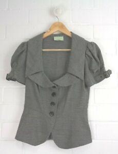 REVIEW-VINTAGE-Black-White-Patterned-Cropped-Short-Sleeved-Jacket-Size-8