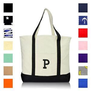 722cb66d1a Image is loading DALIX-Initial-Tote-Bag-Personalized-Monogram-Zippered-Top-