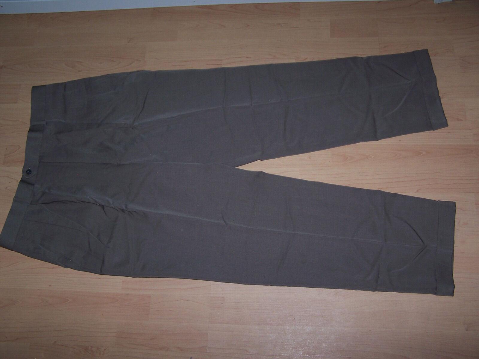 LOUIS RAPHAEL Mens Dark Khaki 100% Pure Wool Pants Size 38x32 (37.5Wx31 1 4L)