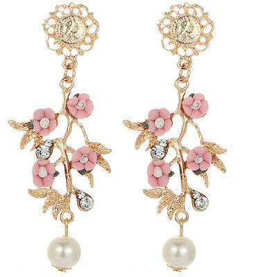 New Woman Fashion  Crystal Rhinestone Ear Drop Dangle Stud Flower Earrings 830
