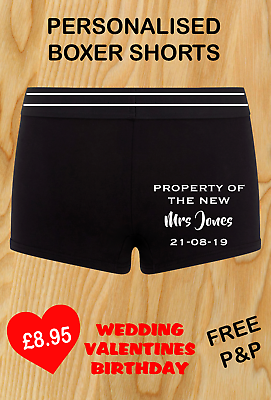 Begeistert Wedding Groom Boxer Shorts Property Of The New Mrs Personalised Gift Husband Man Buy One Give One