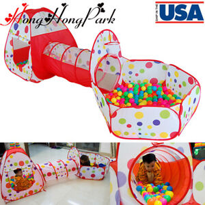 US-Portable-Kids-Indoor-Outdoor-Play-Tent-Crawl-Tunnel-Set-3-in-1-Ball-Pit-Tent
