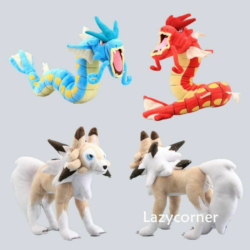Pokemon Go Gyarados And Lycanroc Plush Soft Teddy Stuffed Dolls Kids Toy NWT