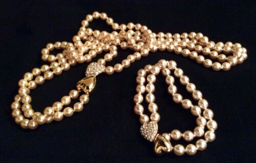 Vintage Joan Rivers Champagne Pearl Set With Heart